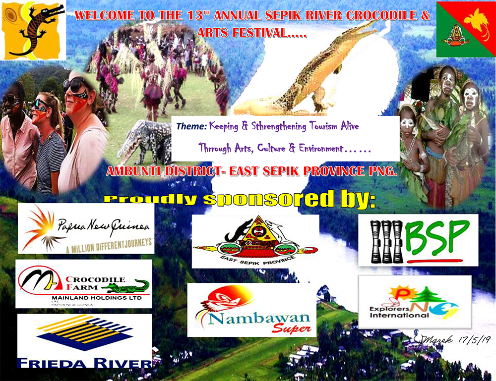 13th Annual Sepik River Crocodile and Arts Festival sponsorship poster