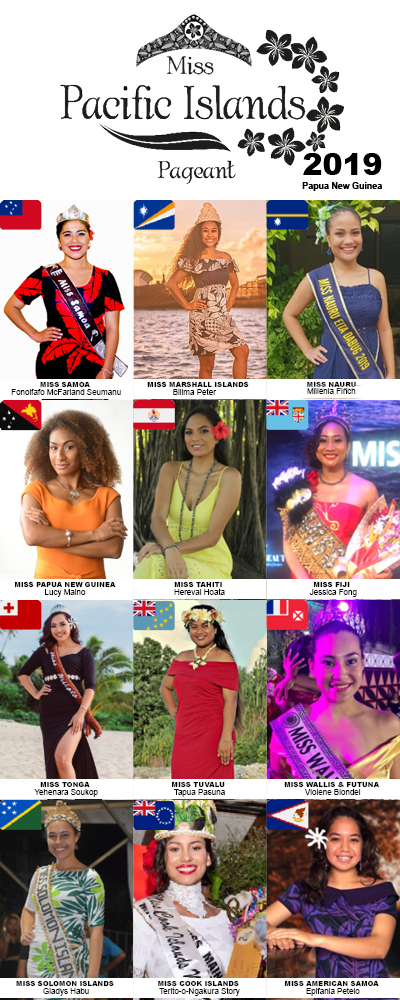 2019 Miss Pacific Islands Contestants