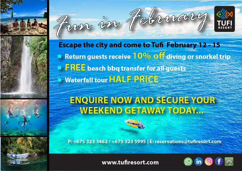 2021 Tufi Dive Resort Fun in February Specials