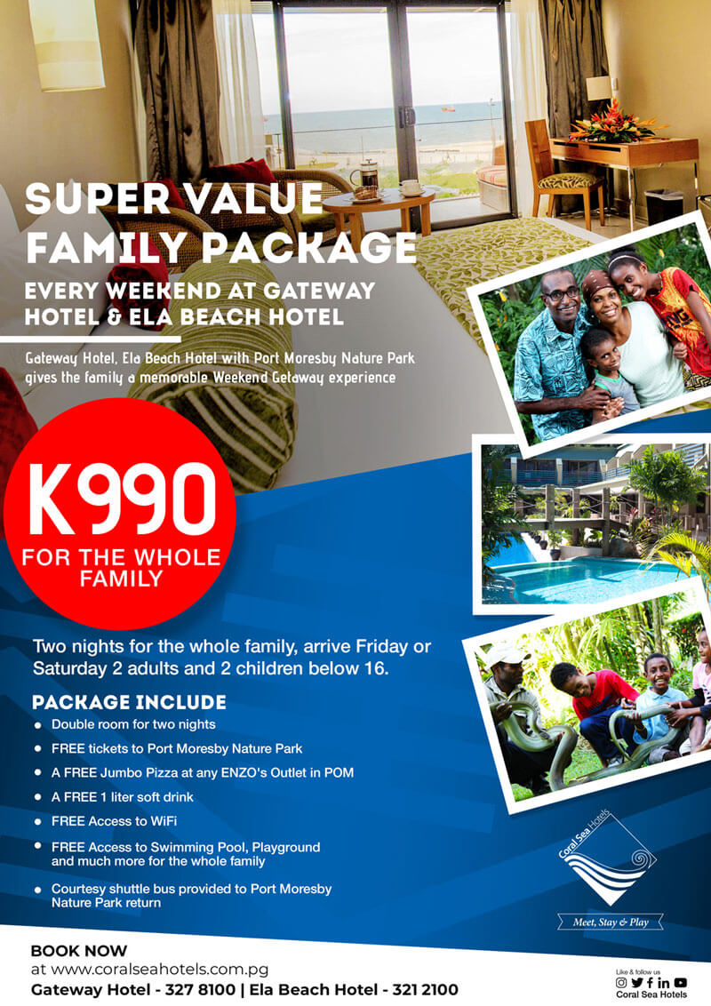 Super Family Package with Gateway Hotel and Port Moresby Nature Park