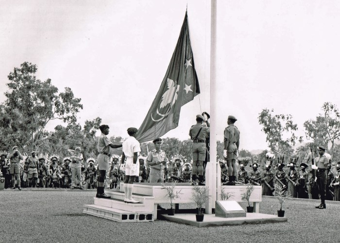 Papua New Guinea Flag Raising during Independence 1975