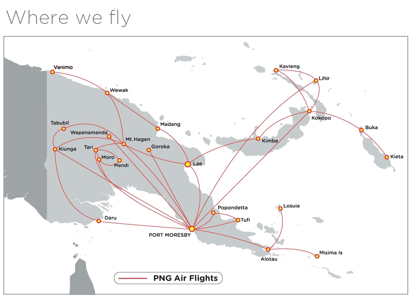 PNG Air Domestic Routes